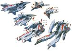 90s airplane arrow diagram energy_cannon jet macross macross_2 mecha official_art oldschool production_art scan science_fiction space_craft starfighter traditional_media transformation vf-2ss