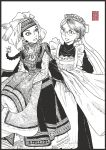 2girls amira clothes creator_connection crossover emma highres millipen_(medium) monochrome multiple_girls otoyomegatari sharingandevil traditional_media victorian_romance_emma