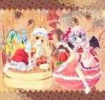 2girls ankle_socks arm_support ascot bat_wings berries between_legs blonde_hair blue_hair blush border brooch butter cup flandre_scarlet food fruit hand_between_legs hat hat_ribbon head_tilt jewelry knee_up kneehighs kneeling looking_at_viewer macaron mob_cap moi_(licoco) multiple_girls no_shoes open_mouth oversized_object pancake polka_dot polka_dot_background puffy_short_sleeves puffy_sleeves red_eyes remilia_scarlet ribbon short_hair short_sleeves siblings side_ponytail sisters sitting skirt skirt_set strawberry striped striped_background syrup teacup touhou wings zoom_layer