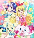2girls aikatsu! arm_up bandai blonde_hair blue_eyes blue_hair character_request colorful company_connection crossover frilled_skirt frills hair_ribbon hoshimiya_ichigo kiriya_aoi long_hair looking_at_viewer mascot multicolored_background multiple_girls navelk necktie olm_digital pokemoa pose puffy_short_sleeves puffy_sleeves ribbon short_sleeves side_ponytail skirt smile star starry_background tamagotchi tamagotchi_(creature) tv_channel_connection tv_tokyo yumemitchi