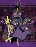 1girl aegislash ahoge banette black_hair character_request dress hair_over_one_eye hex_maniac_(pokemon) liczka phantump pokemon pokemon_(creature) pokemon_(game) pokemon_xy pumpkaboo violet_eyes
