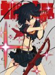 1girl black_hair kill_la_kill matoi_ryuuko midriff navel official_art school_uniform senketsu serafuku short_hair single_glove skirt solo sushio suspenders sword torn_clothes weapon