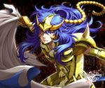 1boy armor blue_eyes blue_hair cape dated glowing glowing_eye happy_birthday long_hair looking_at_viewer male mikage_(pixiv) saint_seiya scorpio_milo solo