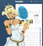 1girl ari_laharis armlet bare_arms bare_shoulders belt blonde_hair bracelet breasts cameo choker cleavage clothed_navel cowboy_shot demon_mages dress earrings english finger_to_mouth fourth_wall grey_eyes hair_ornament hair_over_one_eye hair_up hand_on_hip heart jason_robinson jewelry mankanshoku_mako mole ring scar snake_hair solo spoken_heart squinting strapless_dress tight tumblr