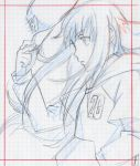 androgynous darker_than_black komo_sama komori_takahiro monochrome official_art production_art reverse_trap