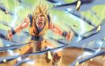 blonde_hair dragon_ball dragon_ball_z dragonball epic glowing glowing_eyes male mikemaluk motion_blur muscle no_pupils powering_up sleeveless son_goku son_gokuu super_saiyan wallpaper white_eyes