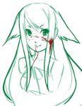 1girl animal_ears blood blood_on_face eu03 face monochrome neko saya saya_no_uta sketch solo spot_color