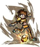 armor ball blue_eyes brown_hair crown earring mario_strikers:_charged midriff nintendo princess_daisy