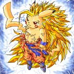 dragonball dragonball_z electricity nintendo parody pikachu pokemon red_eyes super_saiyan veins