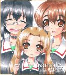 3girls blush brown_hair crying girls_und_panzer kadotani_anzu kawashima_momo koyama_yuzu long_hair monocle multiple_girls ponytail short_hair smile tears throat_mike twintails yukion