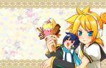 blonde_hair blue_hair blush chibi food headset ice_cream kagamine_len kaito saliva saya_kohiji_mame scarf teardrop vocaloid