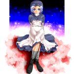 blue_hair cloud clouds hood jewelry kumoi_ichirin short_hair solo touhou umigarasu_(artist) umigarasu_(kitsune1963)
