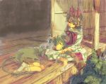 animal_ears barefoot blonde_hair graphite_(medium) grey_hair hair_ornament mixed_media mouse_ears mouse_tail multicolored_hair multiple_girls nazrin shawl shippo_(skink) short_hair skink sleeping tail toramaru_shou touhou traditional_media yellow_eyes