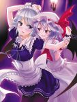 bat_wings blue_eyes braid chain chains cuff cuffs fang hairband izayoi_sakuya maid multiple_girls nidoro pantyhose purple_hair red_eyes remilia_scarlet short_hair silver_hair touhou twin_braids wings yuri