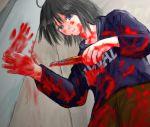 black_hair blood blue_eyes boxcutter hooded_jacket nevada-tan yandere