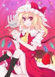 bow flandre_scarlet food fork fruit hat panties pantyshot pudding red_eyes ribbon shino_(mijinko) shino_(pixiv35037) strawberry touhou underwear wings