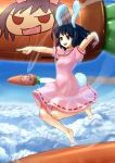 barefoot black_hair blue_door bunny_ears carrot cloud feet flying hands inaba_tewi jewelry missile pendant pointing rabbit_ears red_eyes rocket short_hair sky tail touhou
