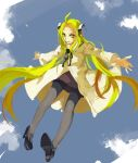 1girl ahoge blonde_hair bolt franken_fran glasgow_smile highres labcoat long_hair madaraki_fran outstretched_arms pantyhose shoes skirt solo stitches very_long_hair yaozhiligenius yellow_eyes