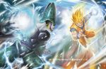 2boys absurdres armor attack battle blonde_hair cell_(dragon_ball) clenched_teeth dougi dragon_ball dragon_ball_z energy energy_ball green_eyes highres male mikael_wang motion_blur multiple_boys muscle pale_skin perfect_cell red_eyes sleeveless smile son_gokuu speed_lines super_saiyan watermark web_address wristband