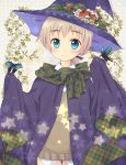 1girl apple blonde_hair bow butterfly cape eyebrows flower food fruit green_eyes hair_ribbon hat leaf looking_at_viewer lynette_bishop portrait ribbon smile solo star strike_witches vest witch_hat yuni_(artist)
