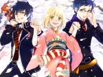 1girl 2boys ahoge ao_no_exorcist black_hair blonde_hair blue_eyes blue_hair glasses japanese_clothes kimono moriyama_shiemi multiple_boys okumura_rin okumura_yukio ruondea short_hair