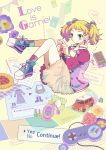 1girl absurdres blonde_hair blue_eyes board_game bottle bow calendar car cellphone controller engrish flower game_controller hair_bow highres letterman_jacket mechanical_pencil mikami_(mkm0v0) motor_vehicle original pastry pencil perfume_bottle phone ranguage rose short_twintails skirt socks solo twintails vehicle