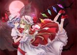 2girls ankle_socks ascot bat bat_wings blonde_hair blue_hair eye_contact fingernails flandre_scarlet flying full_moon hair_in_mouth hand_on_another's_back hand_on_another's_chest hat hat_ribbon highres hug legs_back light_particles light_smile lips looking_at_another lying_on_person mary_janes megumi_(piyo7piyo9) mob_cap moon multiple_girls nail_polish red_background red_eyes red_moon remilia_scarlet ribbon sharp_fingernails shoes short_hair siblings side_ponytail sideways sisters skirt skirt_set touhou transparent_wings wings wrist_cuffs