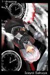 1girl alternate_costume black_legwear clock eisuto highres izayoi_sakuya red_eyes reversed silver_hair solo touhou