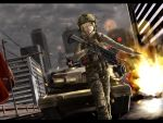 1girl absurdres assault_rifle battlefield_(series) battlefield_4 blonde_hair bulletproof_vest eotech gloves grenade_launcher gun hair_over_one_eye helmet highres hk416 knee_pads letterboxed m1_abrams magazine_(weapon) military military_vehicle original rifle short_hair soysoy68 tactical_clothes tank trigger_discipline vehicle weapon