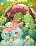 :> bulbasaur chespin cottonee fang flower green_eyes hoppip leaf mega_pokemon no_humans oddish pansage phantump pokemon pokemon_(creature) pokemon_(game) red_eyes shroomish snivy sunkern uppi venusaur vines