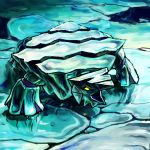 avalugg blue gen_6_pokemon ice kaosu0905 looking_up monster mouth no_humans open_mouth pokemon pokemon_(game) reflective_floor solo yellow_eyes