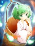 1girl blue_background bucket ellipsis_(artist) expressionless green_eyes green_hair hair_bobbles hair_ornament hand_on_own_cheek highres in_bucket in_container japanese_clothes kimono kisume light_particles long_sleeves looking_at_viewer short_hair solo touhou twintails wide_sleeves