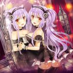 1girl against_glass blush breasts brown_eyes choker dress fang hairband himedatsu!_dungeons_lord large_breasts lavender_hair lolita_fashion long_hair mirror official_art pointy_ears sideboob smile solo thighhighs twintails very_long_hair wrist_cuffs yuuki_rika zettai_ryouiki