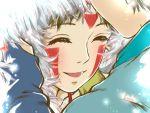 1boy 1girl ashitaka closed_eyes couple emi_(green_wave) facepaint facial_mark hetero mononoke_hime san smile studio_ghibli
