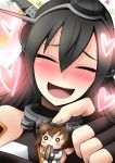 2girls :3 black_hair blush blush_stickers brown_hair chibi closed_eyes eating fingerless_gloves gloves hairband headgear heart kantai_collection minigirl multiple_girls nagato_(kantai_collection) niyang53 o_o open_mouth personification seed sunflower_seed yukikaze_(kantai_collection)