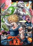 6+boys absurdres alien antennae armor attack bald battle black_hair black_nails blonde_hair blood blood_in_mouth blood_on_face blue_skin brown_eyes burter cape captain_ginyu clenched_teeth copyright_name crossed_arms destructo_disk dodoria dragon_ball dragon_ball_(object) dragon_ball_z earrings fingernails frieza ginyu_force gloves green_eyes green_hair green_skin guldo hands_on_hips highres horns jeice jewelry kuririn long_hair marlboro_(artist) multiple_boys muscle namek piccolo pink_skin pointing pointing_at_viewer pointy_ears ponytail purple_blood recoome red_eyes sash scouter sharp_fingernails silhouette smile son_gohan son_gokuu space_craft spike super_saiyan tail torn_clothes torn_pants torn_shirt vegeta veins white_skin wristband yellow_eyes zarbon