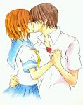 1boy 1girl brown_hair closed_eyes couple ginnoturu higurashi_no_naku_koro_ni holding_hands kiss maebara_keiichi orange_hair ryuuguu_rena school_uniform serafuku short_hair simple_background white_background