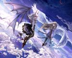 2girls aiha-deko angel blonde_hair blue_eyes clouds devil floating halo horn lantern long_hair multiple_girls original red_eyes short_hair sky white_hair wings