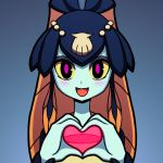 1girl blue_background blue_skin blush fish_girl heart heart_hands looking_at_viewer minette_(skullgirls) open_mouth pink_eyes scales seashell shell shisen smile solo yellow_sclera