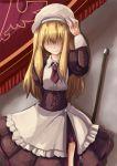 androgynous blonde_hair broom curtains hair_over_eyes hat highres juliet_sleeves long28 long_sleeves maid puffy_sleeves smile umineko_no_naku_koro_ni yasu_(umineko)