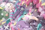 1girl bass_guitar blue_eyes boots dress freckles gym_leader hair_bobbles hair_ornament highres homika_(pokemon) instrument koffing open_mouth pokemon pokemon_(creature) pokemon_(game) pokemon_bw2 scolipede short_dress short_hair smoke striped striped_dress topknot transistor trubbish white_hair