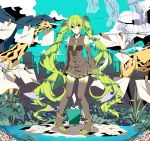 1girl ahoge anklet boots clothesline detached_sleeves giraffe green_eyes green_hair hatsune_miku high_heels highres jellyfish jewelry leaf long_hair necktie pigeon-toed sinomi skirt solo thigh_boots thighhighs twintails very_long_hair vocaloid
