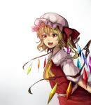 1girl ascot blonde_hair flandre_scarlet hat hat_ribbon kagari_(kgr_000) looking_at_viewer mob_cap red_eyes ribbon rough short_hair short_sleeves side_ponytail simple_background skirt skirt_set slit_pupils solo touhou white_background wings