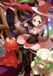 1girl brown_hair dragalge dress hat highres magcargo poke_ball pokemon red_eyes top_hat whimsicott
