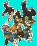 5boys antennae armor black_hair blue_background boots closed_eyes d: dougi dragon_ball dragonball_z falling father_and_son gloves male_focus multiple_boys nervous nitako open_mouth piccolo scared short_hair simple_background smile son_gohan son_gokuu spiky_hair surprised sweatdrop teeth torn_clothes trunks_(dragon_ball) vegeta wide-eyed wristband
