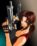 1girl armpit_holster beretta_92 black_lagoon breasts brown_eyes brown_hair cleavage dual_wielding fingerless_gloves gloves grin gun holster large_breasts lips long_hair pistol ponytail revy smile solo taut_clothes weapon youken
