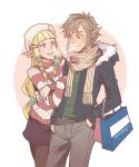 1boy 1girl bag blonde_hair blue_eyes contemporary finni_chang hat hoodie jacket link long_hair nintendo pointy_ears princess_zelda scarf skyward_sword smile sweater the_legend_of_zelda