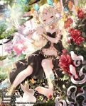 1girl anklet bare_shoulders barefoot bell bird blonde_hair butterfly closed_eyes flower flute hair_flower hair_ornament instrument jewelry jingle_bell long_hair mia0309 navel original rabbit rose sitting skirt solo twintails