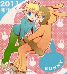 2011 2boys animal_ears blonde_hair blue_eyes butters_stotch coat couple dated kenny_mccormick leopold_stotch looking_at_viewer mittens multiple_boys open_mouth portmanteau rabbit_ears sakurapanda south_park translation_request watermark web_address yaoi