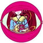 1girl eyeball frills heart hidden_eyes holding justin_hsu komeiji_satori long_sleeves pink_hair repetition round_image ruffled_cuffs short_hair simple_background solo symbolism third_eye touhou